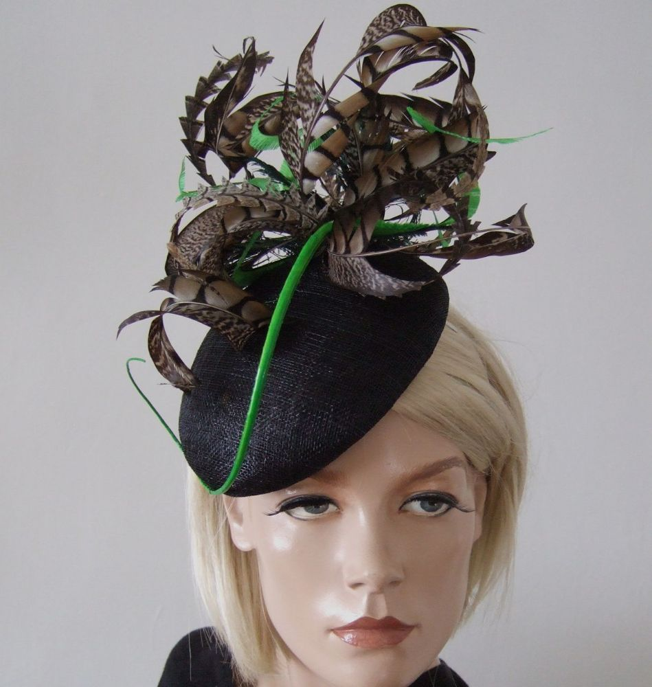 "Black Green and Brown Amherst Pheasant Feathered Beret Headpiece Hat  ""Emily"""